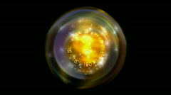 Rotation tech energy & golden dynamic light ball background. Stock Footage