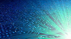 Data stream, transfer, communications. Abstract circuit board with chip. Stock Footage