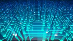 Data stream, transfer, communications. Abstract circuit board. Loop. Stock Footage