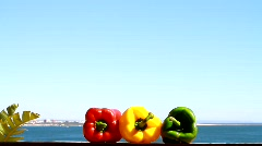 Three Chilli Peppers and The Ocean - stock footage