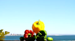 Colorful Chilli Peppers& Small Green Chilli Peppers Stock Footage