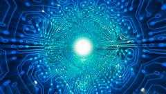 Data stream, transfer, communications. Abstract circuit board. Getting faster. Stock Footage