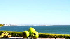 Green Apples & Seaview - stock footage