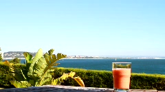 Glass of Strawberry Juice & Seaview Stock Footage