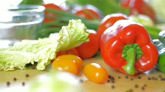Stock Video Footage of Red, green pepper and vegetables, dolly shot
