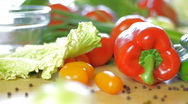 Red, green pepper and vegetables, dolly shot Stock Footage