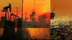 Sunset Montage of Environmental Contrasts - stock footage