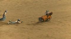 Rodeo, kids wild pony race  Stock Footage