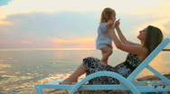 Stock Video Footage of Mother and daughter at sunset