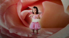 Little garden fairy dancing in a rose  Stock Footage