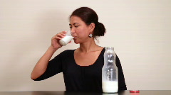 Drinking milk Stock Footage