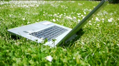 Notebook on a Meadow Stock Footage