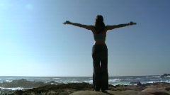 Yoga by the ocean V12 - HD Stock Footage