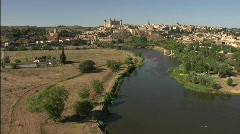 Toledo Flying over the river Tajo Stock Footage
