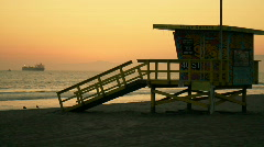 Sunset Lifeguard Tower Manhattan Beach California Stock Footage