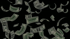 Money rain dollar loopable black background Stock Footage