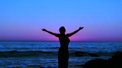 Yoga at sunset V4 - HD - stock footage