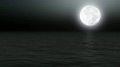 Full moon over calm sea at night - Nature - Night - Backgrounds - Vacations  Stock Footage
