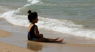 Little girl by the sea Stock Footage