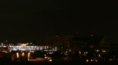 Lightning Monsoon 2010 - City horizon lights up - 2 pan right Stock Footage