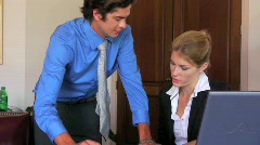 Business Team Female Executive Businesswoman Discusses Plans with Coworker Stock Footage