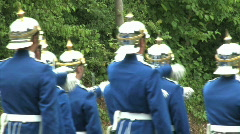 Historical swede army soldiers marching Stock Footage