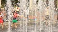 Stock Video Footage of Children playing in fountain 3 - HD 1920 X 1080