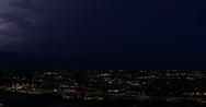 4K VIDEO Monsoon 2010 - City horizon light up with lightning - 5 wide panorama Stock Footage