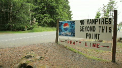 No Vampires Treaty Line Sign Stock Footage