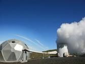 Geothermal Power Generator blue sky Stock Footage