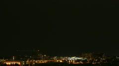 Lightning Monsoon 2010 - City horizon lights up - 3 wide panorama Stock Footage