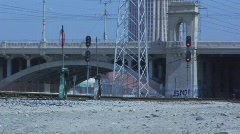 Train Tracks and Bridge Stock Footage