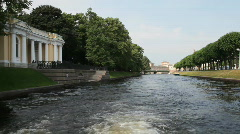 Travel along Moika and Fontanka channels  in St. Petersburg , Russia Stock Footage