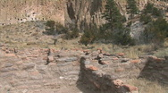 Stock Video Footage of Anasazi Village Ruins in Canyon-ws-pan
