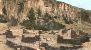 Stock Video Footage of Anasazi Village Ruins-Frijoles Canyon-zooms