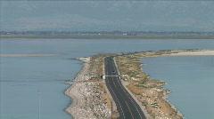 Antelope Island Causeway-xws-zoom Stock Footage