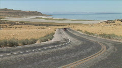 Antelope Island Road-zoom Stock Footage
