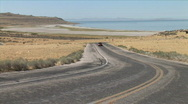 Stock Video Footage of Antelope Island Road-zoom