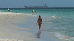 Aruba Beach Girl-xws-zoom Stock Footage