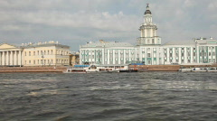 Travel along Neva river in St. Petersburg , Russia - stock footage
