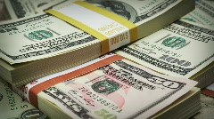 Macro money fly over Stock Footage