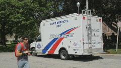 G20 police video van - 2 shots Stock Footage