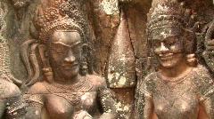 Bas Reliefs Sculpture RUINED TEMPLE Angkor Wat Cambodia Gods Asia Art Hindu  Stock Footage