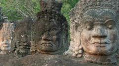 Ancient Faces Bayon Temple Ruin at Myterious Angkor Wat Cambodia - stock footage