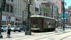 Charles Street Trolley Turns-pan Stock Footage