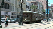 Stock Video Footage of Charles Street Trolley Turns-pan