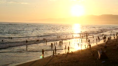 Santa Monica Beach at Sunset WS - stock footage