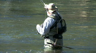 Fly Fisherman Wades-cu Stock Footage