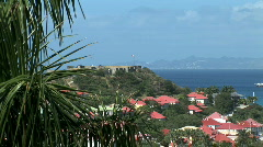 Fort over Gustavia-xws Stock Footage