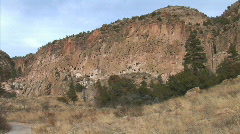 Frijoles Canyon Caves-xws-pans Stock Footage